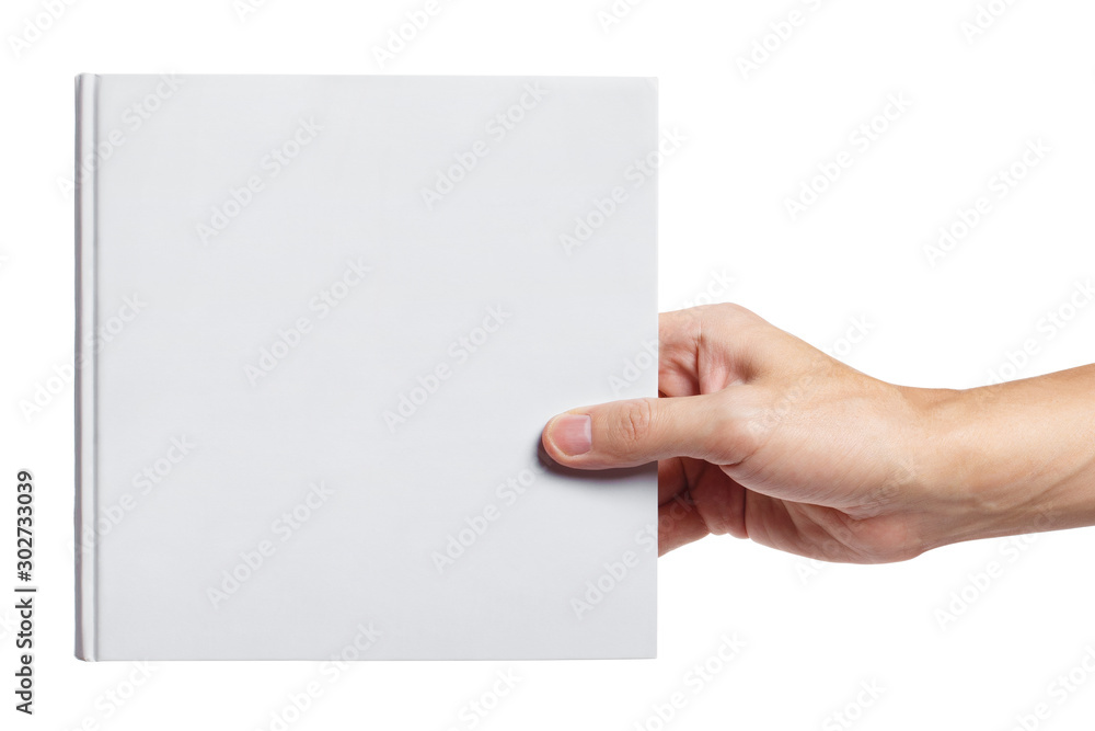 Fototapety, obrazy: Hand holding a blank hard cover square book, isolated on white background