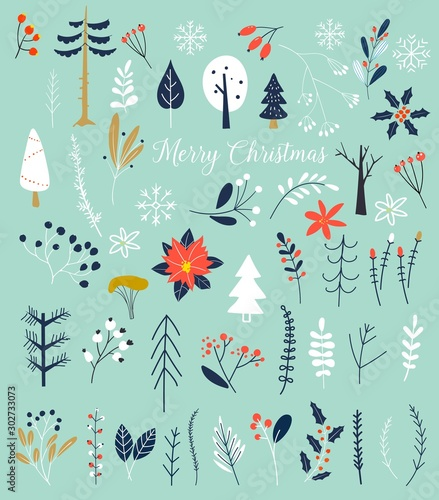 Christmas and Happy New Year. Winter plants and flowers. Hand drawn Vector illustration. Template for Scrapbooking,Stickers,Planner,Invitations.