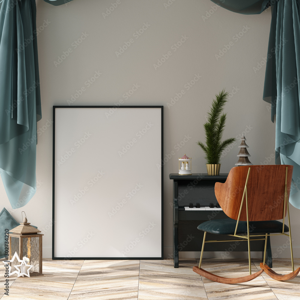 Fototapety, obrazy: Mock up poster frame in children room interior decorated for new year, 3D render