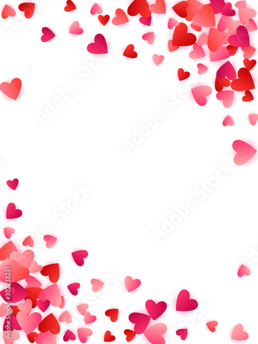 Red flying hearts bright love passion vector background. Wallpaper Mural