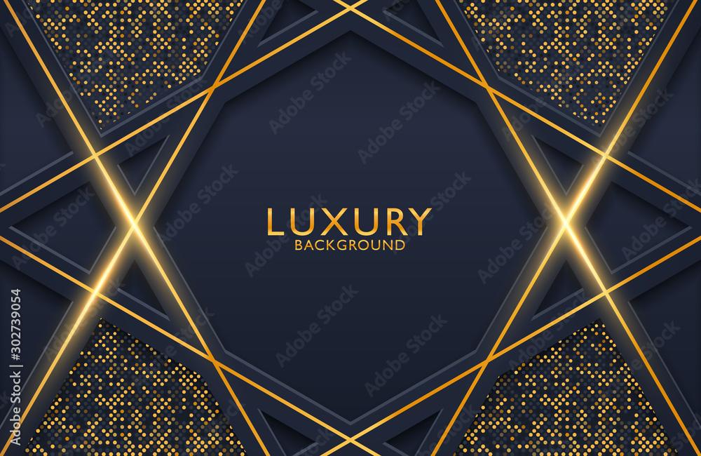 Fototapety, obrazy: 3d geometric luxury gold metal on dark background. Graphic design element for invitation, cover, background. Elegant decoration