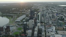 Aerial Sunset View Perth Landscape With City Skyscrapers