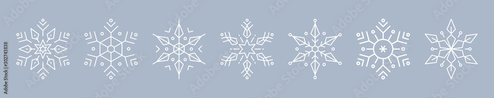 Fototapeta Christmas ice snowflakes elements ornaments seamless banner greeting card on blue ice background