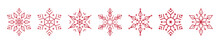 Christmas Ice Snowflakes Elements Ornaments Seamless Banner Greeting Card On White Background