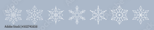 Fototapeten Künstlich Christmas ice snowflakes elements ornaments seamless banner greeting card on blue ice background