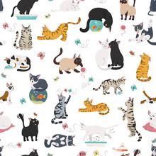Cartoon Cat Characters Seamles...
