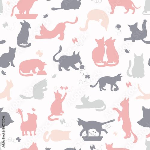 Fotografia Cartoon cat characters seamless pattern