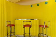 Funkis Interior Design. Villa Stenersen With Yellow Bar Counter And Chairs. Norwegian Modernism.