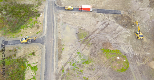 Vászonkép Baustelle Baugebiet Bagger aus der Vogelperspektive