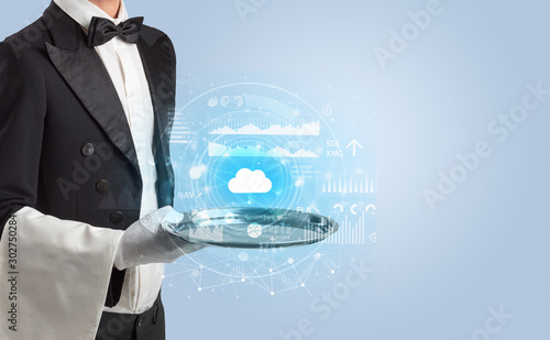 Elegant young waiter serving cloud technology concept