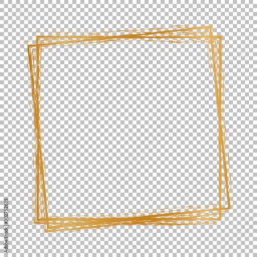 Obraz gold christmas banner - brush painted on transparent background - fototapety do salonu