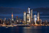 Fototapeta Nowy Jork - New York City skyline from the Hudson River with the skyscrapers of the Hudson Yards redevelopment project. Manhattan Midtown West, NYC, NY, USA