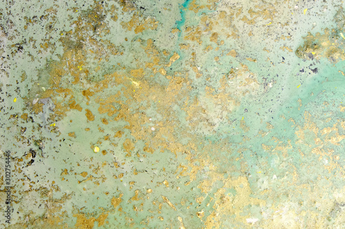 Fototapeta Acrylic artwork with golden stains. Abstract modern art on canvas. Grunge effect. obraz