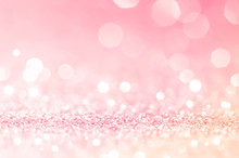 Pink Gold, Pink Bokeh,circle Abstract Light Background,Pink Gold Shining Lights, Sparkling Glittering Valentines Day,women Day Or Event Lights Romantic Backdrop.Blurred Abstract Holiday Background.