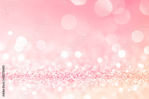 Pink gold, pink bokeh,circle abstract light background,Pink Gold shining lights, sparkling glittering Valentines day,women day or event lights romantic backdrop.Blurred abstract holiday background. - fototapety na wymiar