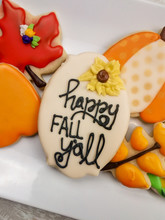 Happy Fall Y'all Sugar Cookie Plaque Decorated To Celebrate Thanksgiving