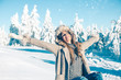 happy girl in winter wonder land