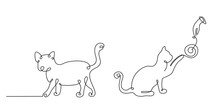 Cat Drawn In A Continuous Line...