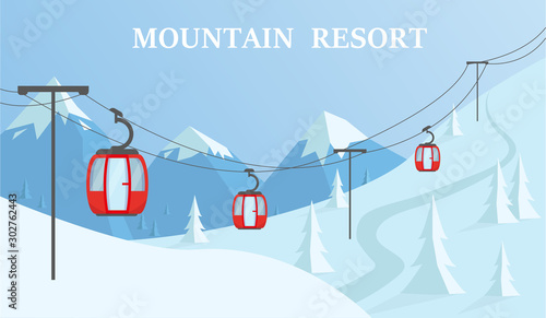 Fotomural  Winter mountain resort vector illustration.