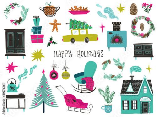Zestaw ikon na białym tle Boże Narodzenie i nowy rok.