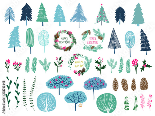 Fototapeta  Set of trees, wreaths and different plant.