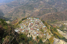 View Across The Slopes Of The Naga Hills And Small Naga Village, Phek District, Nagaland