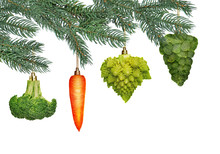 Christmas Tree Ornaments In Shape Of Vegetables Isolated On White
