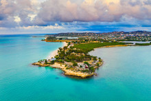 Aerial View By Drone Of Fort James Surrounded By Caribbean Sea, St. John's, Antigua, Leeward Islands