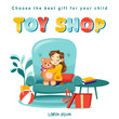 Toy shop koncept with little girl in armchair with teddybear and toys around and place for text.