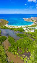 Aerial Panoramic By Drone Of Carlisle Bay Beach, Antigua, Leeward Islands
