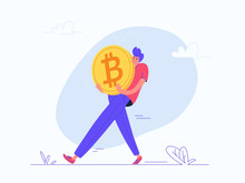 Young Man Carrying Heavy Golden Symbol Of Bitcoin