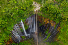 Aerial View Of Tumpak Sewu Waterfall In Java, Indonesia