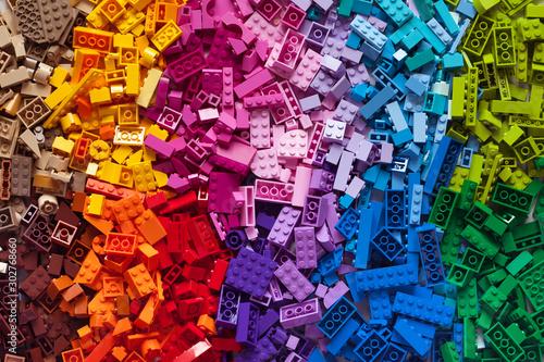 Photo Lot of colorful rainbow toy bricks background