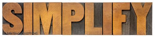Fotografía  simplify word abstract in wood type