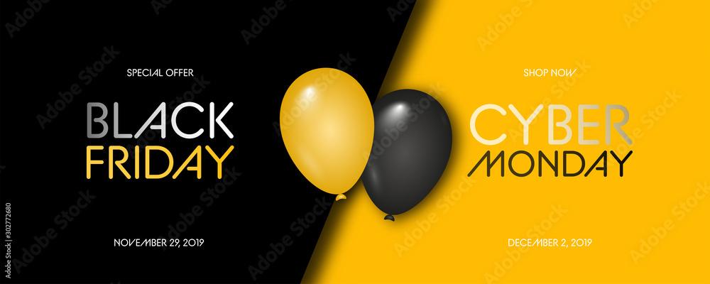 Fototapety, obrazy: Black Friday Sale. Black Friday Super Sale. Black background. Balloons. Super Sale. Vector illustration.