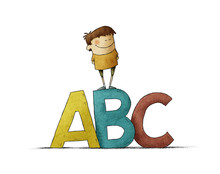Learning Letters In Childhood. Very Colorful Illustration Of A Boy Climbed On Top Of Some Big Letters A B C. Isolated