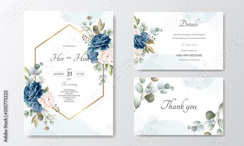 Fototapeta hand drawn floral wedding invitation card obraz