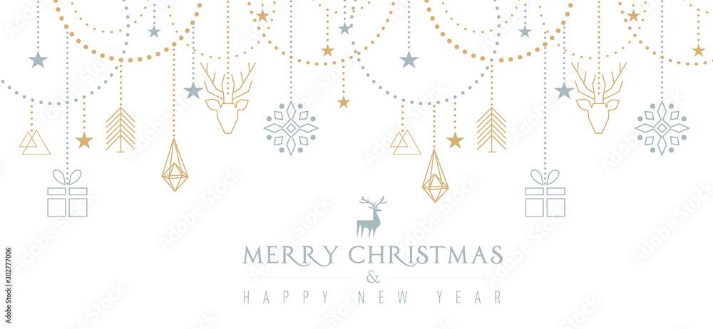 Fototapety, obrazy: Auguri di Natale con elementi geometrici