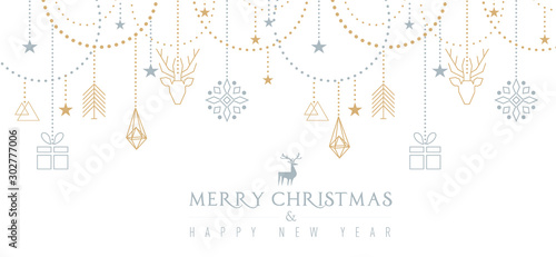 Keuken foto achterwand Dinosaurs Auguri di Natale con elementi geometrici