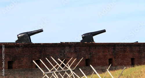 Fort wall and cannons