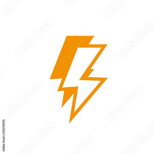 Fototapeta thunderbolt power energy light yellow line style obraz na płótnie
