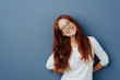canvas print picture - Happy attractive young redhead woman