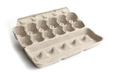 An Empty Cardboard Dozen Egg Carton Isolated On White