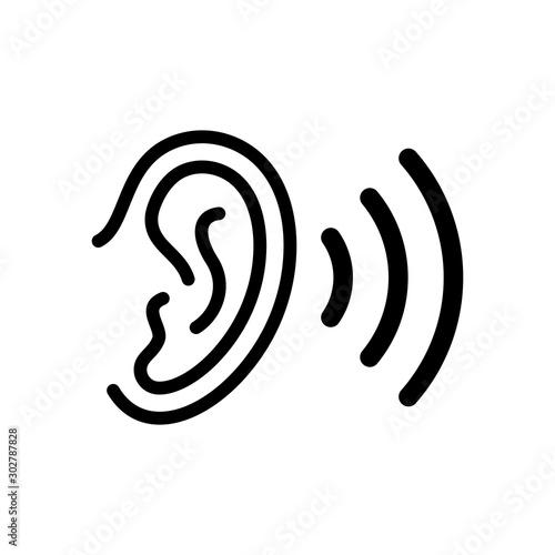 Obraz na plátne  Ear outline icon. Vector illustration