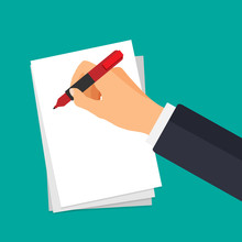Vector Hand With Pen Writing On A Paper. Businessman Signs Document. The Hand Holds A Pen In A 3d Style. Business Financial Agreement Concept.