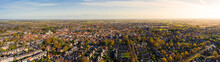Aerial Panoramic Shot Of Beverley Town And Minster From The Sky In November 2019 With Beautiful Autumn Colours Over The Small Market Town In East Yorkshire, UK