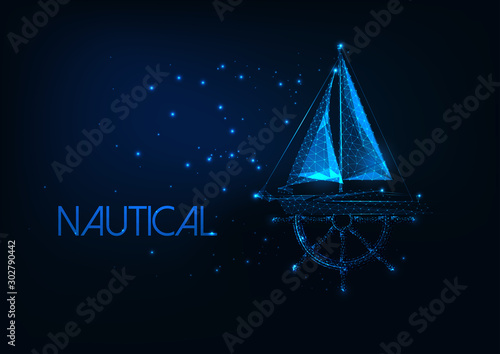 Fotomural  Futuristic nautical concept with glowing low poly yacht boat and ship wheel on dark blue background