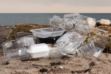 Plastic Take Out Food Clam Shells And Clear Plastic Fruit Packaging Polluting A Sandy Beach