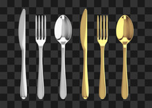 Golden And Silver Fork, Knife ...