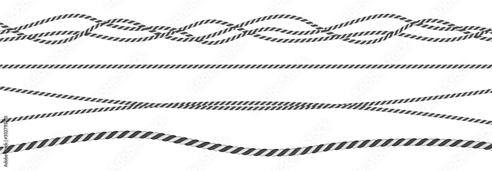 Fototapety, obrazy: Black and white twisted and straight rope set. Modern vector design elements.